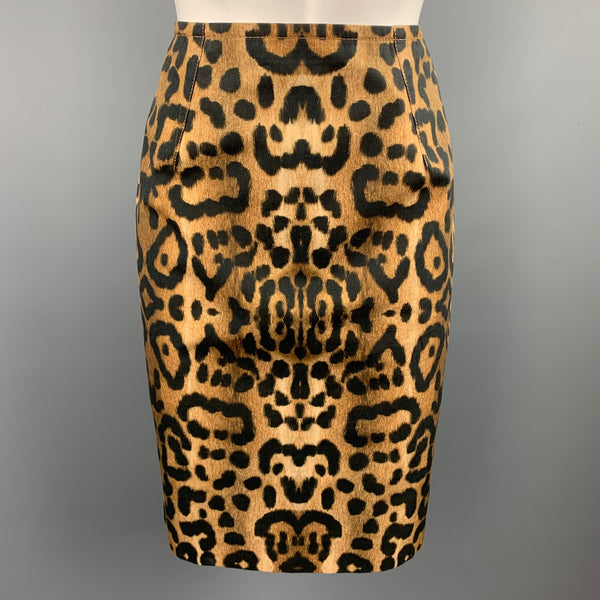GIAMBATTISTA VALLI Size 4 Tan & Black Leopard Print Cotton Pencil Skirt