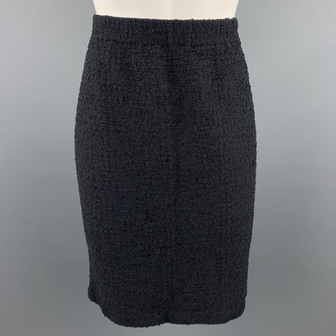 ST. JOHN Size 10 Black Textured Boucle Pencil Skirt
