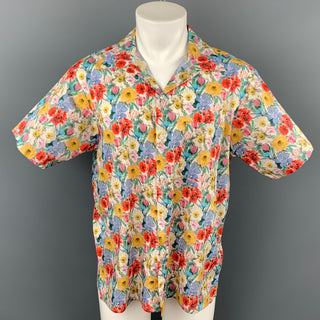 R13 Size M Multi-Color Floral Cotton Button Up Short Sleeve Skater Shirt