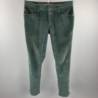 NICE COLLECTIVE Size 34 Forest Green Corduroy Button Fly Casual Pants
