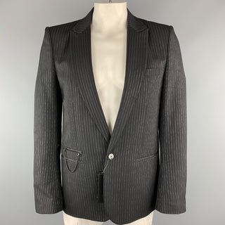 NUMBER (N)INE Size L Black & Silver Stripe Wool Blend Sport Coat