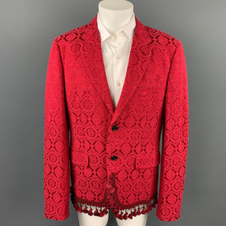 COMME des GARCONS HOMME PLUS Size XL Red Jacquard Cotton Blend Notch Lapel Jacket