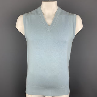BALLANTYNE Size XL Light Blue Cashmere V-Neck Sweater Vest