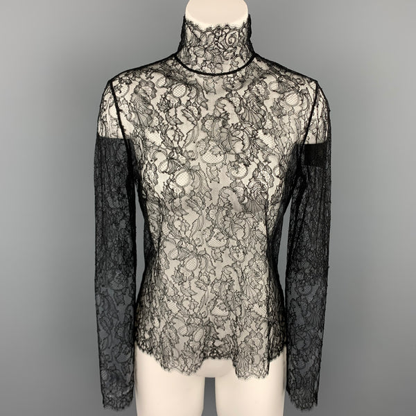 RALPH LAUREN Black Label Size 8 Black Lace Viscose / Polyamide Dress Top