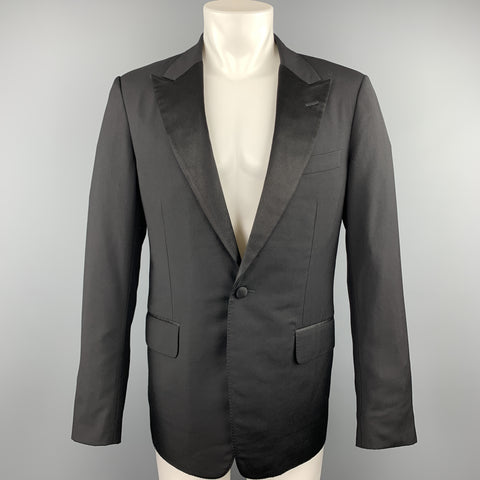 GUCCI Size 38 Regular Black Solid Wool Peak Lapel Sport Coat