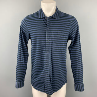 ENGINEERED GARMENTS Size M Navy & Black Stripe Cotton Long Sleeve Shirt
