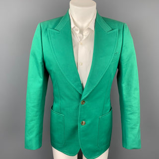 GUCCI by Alessandro Michele Size 36 Green Cotton Peak Lapel Sport Coat