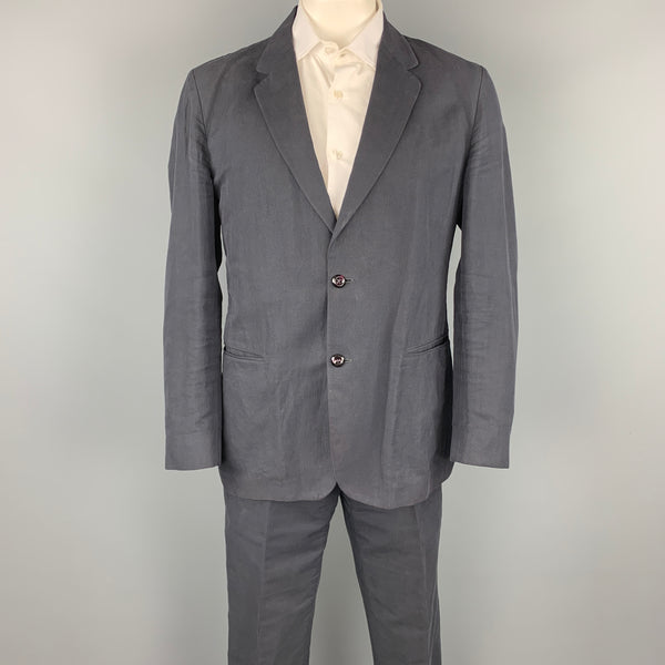 ADAM KIMMEL Size 42 Regular Navy Cotton / Linen Notch Lapel Casual Suit