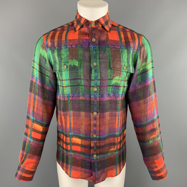 RALPH LAUREN Size S Multi-Color Plaid Linen Spread Collar Shirt