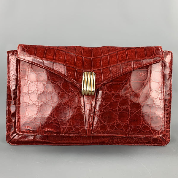VINTAGE Red Alligator Rectangle Clutch Handbag