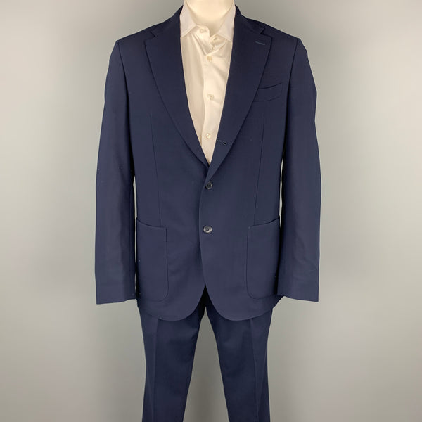 LORO PIANA Size 46 Navy Wool Notch Lapel Notch Lapel Suit