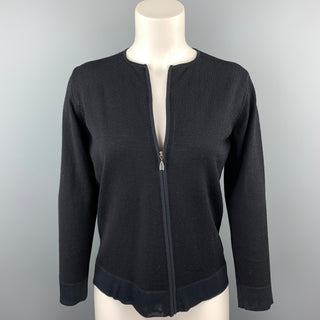 MAX MARA Size S Black Knitted Virgin Wool Blend Cardigan