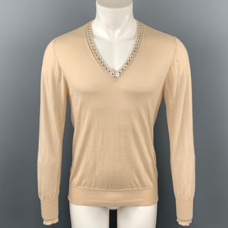 ALEXANDER MCQUEEN Size L Beige Cashmere Buttoned V-Neck Pullover Sweater