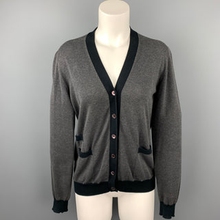 MARNI Size 6 Grey Jersey Two Tone Cotton Cardigan