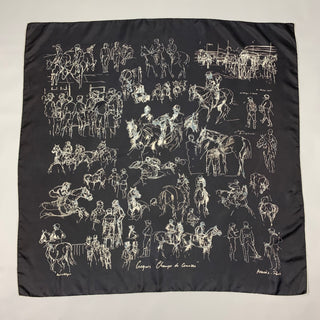 HERMES Champs de Courses by Hubert de Watrigant 2007 Black & White Equestrian Silk Scarf