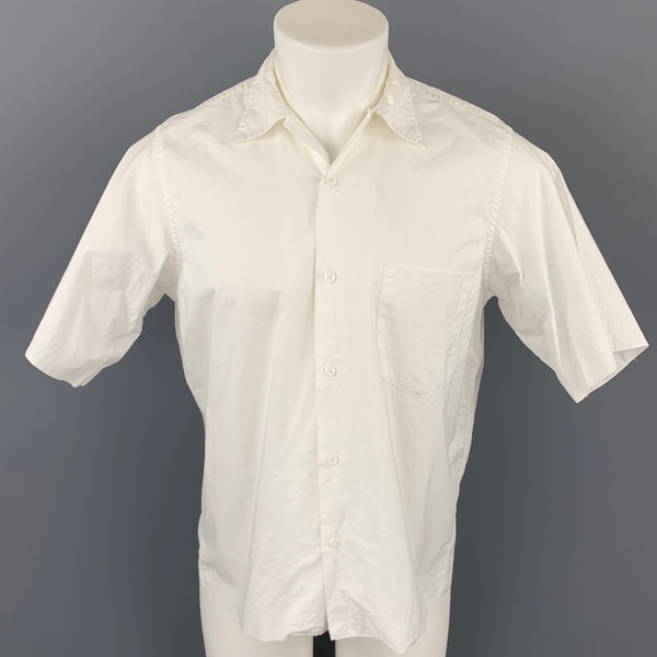 AURALEE Size L White Cotton Button Up Short Sleeve Shirt