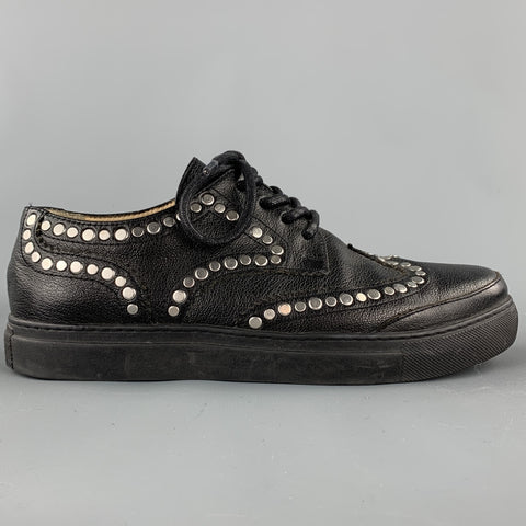 FREE*LANCE Size 7 Black Studded Leather Lace Up Brogues
