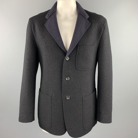 ISSEY MIYAKE Size XL Navy Textured Wool Notch Lapel Coat