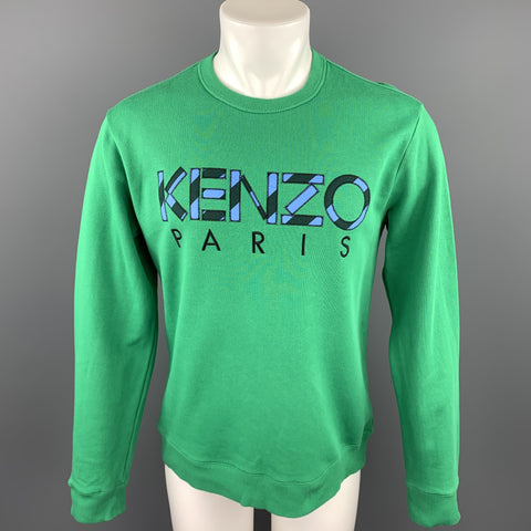 KENZO Size M Green Patch Cotton Crew-Neck Sweatshirt