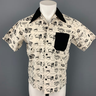 SAMURAI MOTOR CLUB Size L Beige & Black Print Cotton Short Sleeve Shirt