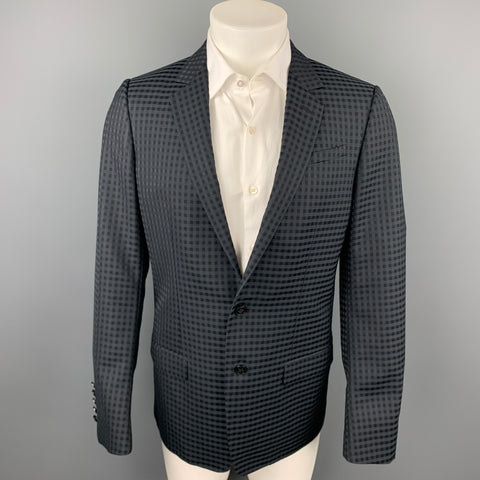 GUCCI Size 38 Regular Black on Black Checkered Wool Sport Coat