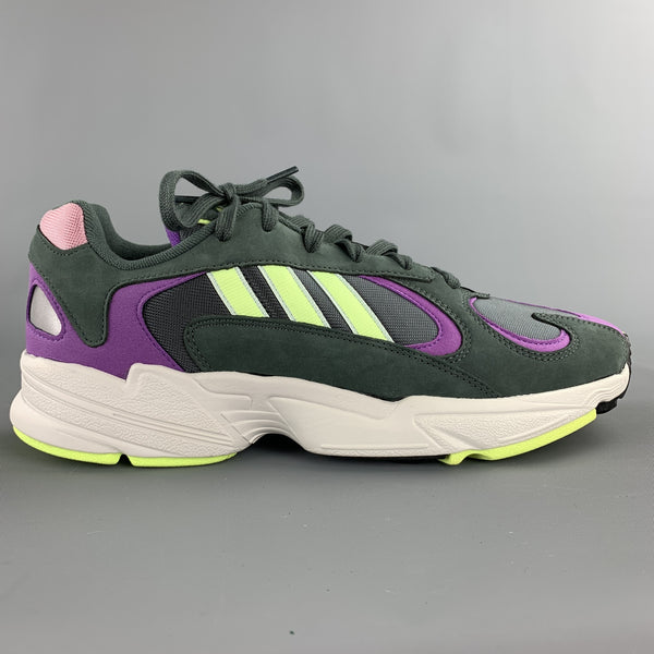 ADIDAS Size 10.5 Green & Purple Mixed Materials Nylon Lace Up Sneakers