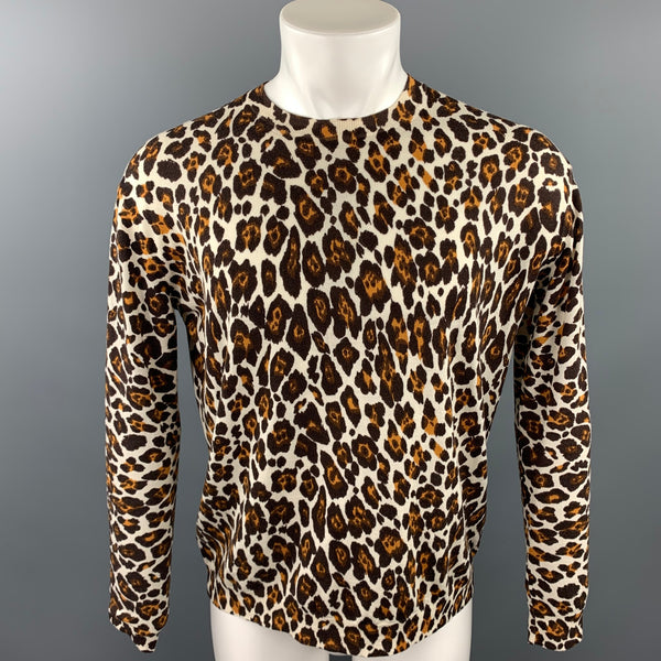 STELLA McCARTNEY Size M Black & Tan Leopard Print Wool Crew-Neck Pullover