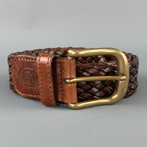 J & C Size 34 Woven Brown Leather Brass Buckle Belt