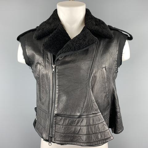 YOHJI YAMAMOTO Size M Black Leather Sheep Skin Vest