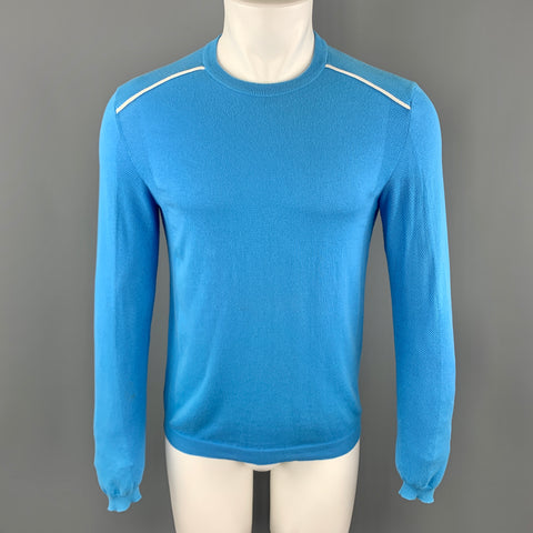 PRADA Size XS Aqua Cotton Crew-Neck White Trim Pullover Sweater