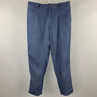 45rpm Size 34 Navy Linen Zip Fly Drop-Crotch Casual Pants