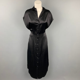 R13 Size XS Black Satin Silk Dropped Sleeves Shirt Dress