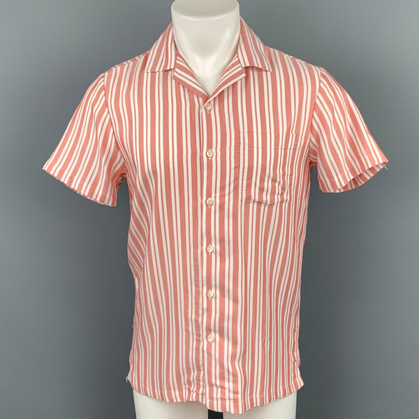 ONIA Size S Red & White Stripe Viscose / Polyester Short Sleeve Shirt