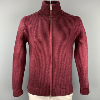 MAISON MARGIELA Size L Burgundy Knit Wool Zip Up Cardigan Jacket