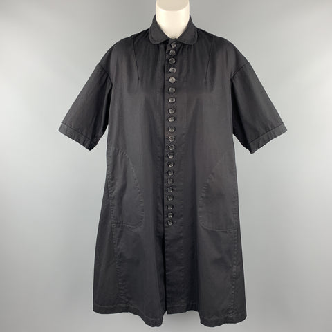 COMME des GARCONS Size S Black Cotton Peter Pan Collar Oversized Shirt Dress