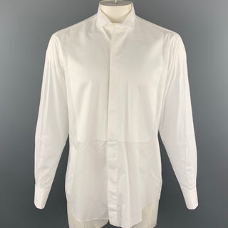 ERMENEGILDO ZEGNA Size L White Cotton French Cuffs Tuxedo Long Sleeve Shirt