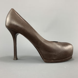 YVES SAINT LAURENT Size 6.5 Brown Leather TRIBUTE Platform Pumps