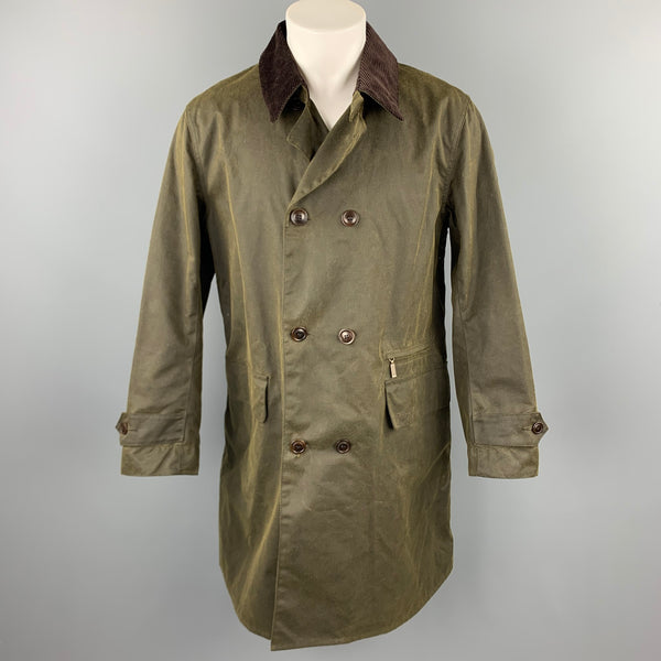 BARBOUR Size M Olive Waxed Canvas Double Breasted Coat