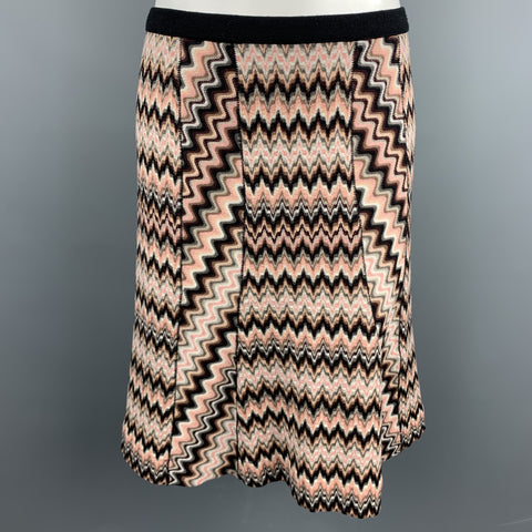 MISSONI Size 6 Pink Knitted Zig Zag Wool Blend A-Line Skirt
