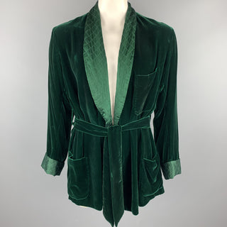 BRIONI Size 40 Forest Green Silk Velvet Shawl Collar Robe Jacket