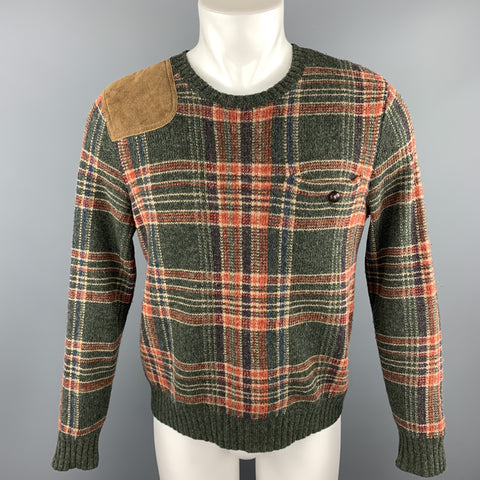 RALPH LAUREN Purple Label Size S Olive Plaid Wool Sweater