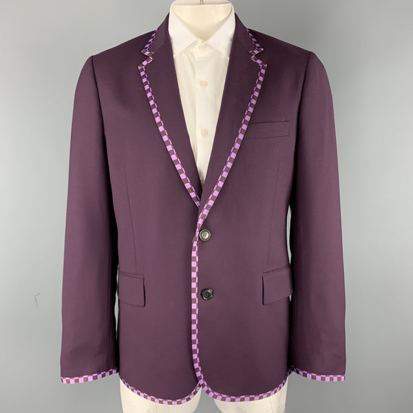 PAUL SMITH Size 44 Purple Wool Checkered Trim Notch Lapel Sport Coat