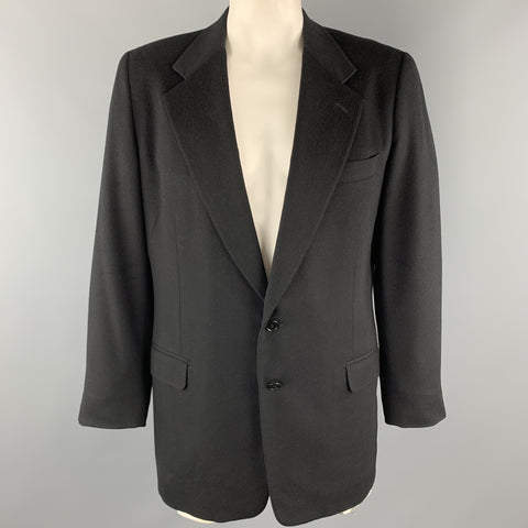 WILKES BASHFORD Black Cashmere / Wool Notch Lapel Sport Coat
