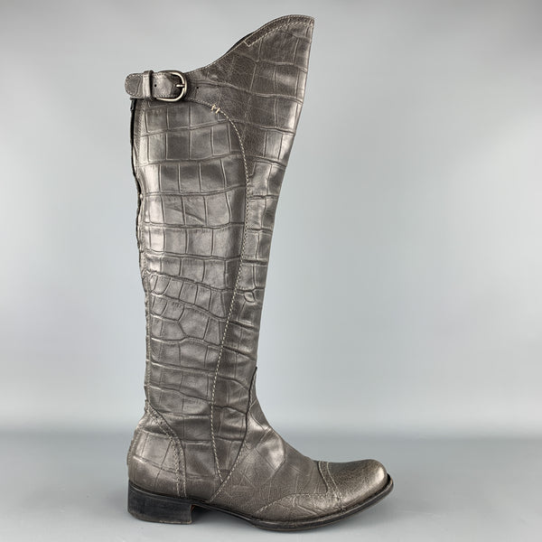 HENRY BEGUELIN Size 8.5 Grey Crocodile Embossed Leather Knee High Boots