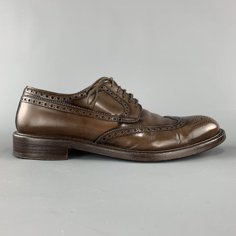 BARNEY'S NEW YORK Size 8.5 Brown Antique Leather Wingtip Lace Up Brogues