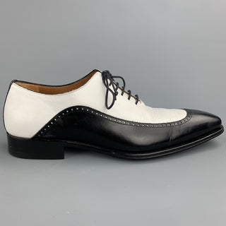 MEZLAN Size 8.5 Black & White Two Toned Leather Spectator Lace Up Shoes