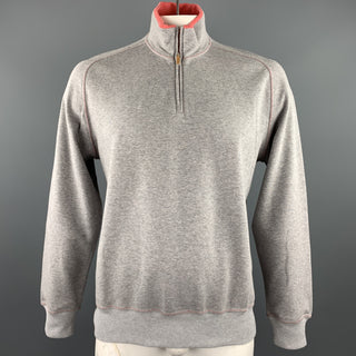 BRUNELLO CUCINELLI Size 44 Grey & Salmon Heather Cotton Half Zip Pullover