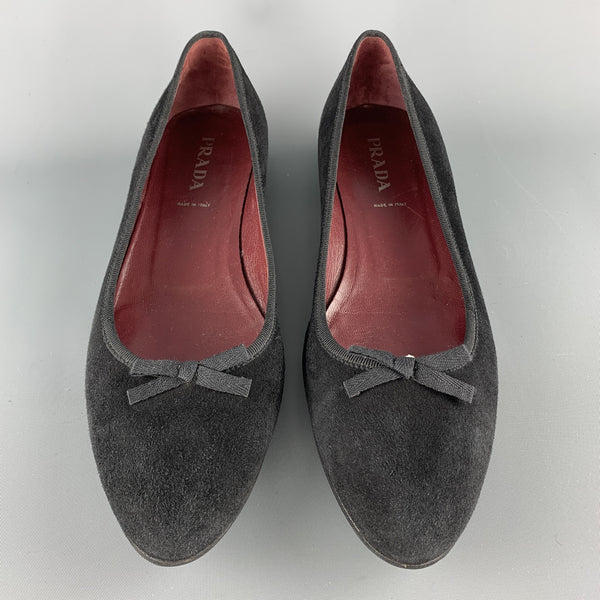 PRADA Size 10.5 Black Suede Pointed Bow Flats