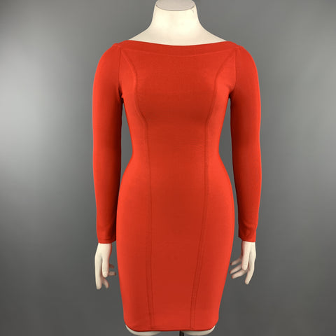 Vintage HERVE LEGER Size M Coral Red Open Back Long Sleeve Bandage Dress