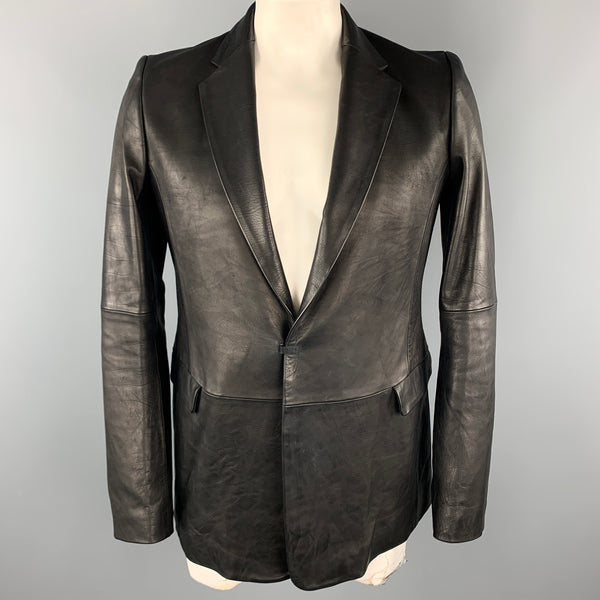 THE VIRIDI-ANNE Size XL Black Leather Notch Lapel Hook & Eye Sport Coat